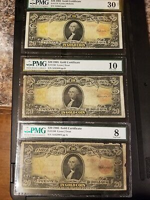 1905 technicolor $20 SET OF 3 gold certificates