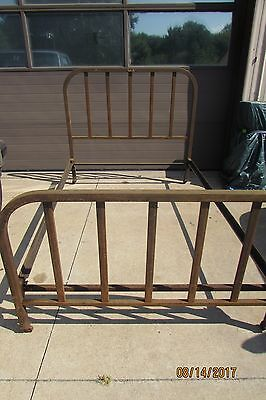 antique vintage iron tube steel bed frame