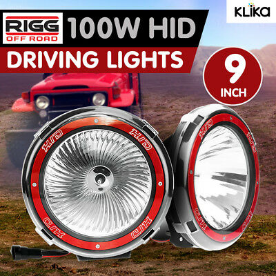 2x RIGG 9 inch DRIVING LIGHTS HID 100W XENON OFF ROAD 4X4 CAR FLOOD SPOT SUV 4WD