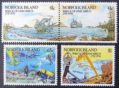 1990 Norfolk Island Stamps - 200th Anniversary Wreck of HMS Sirius - Set 4 MNH