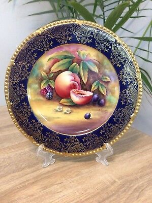 Paragon Hand Painted Fruit Plate Signed E.harper With Cobalt Blue & Gilt Border
