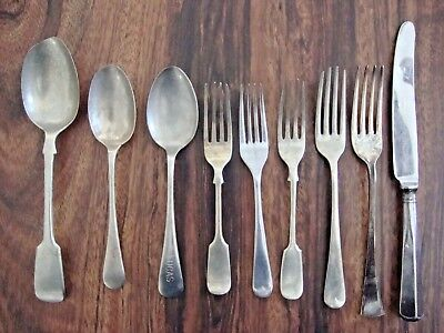 Lot of 9 Vintage Silver Plate Knife Fork Spoon Beehive Silver, Potosi, Rodgers..