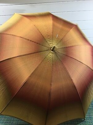 Antique Silk Ombré Womens Parasol Umbrella Leather Handle