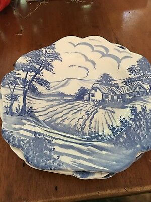 Set of 4 Spode English Blue Delftware Plates. 3 are 9.5 inches. 1 is 9 inches.