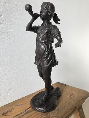 "DAVID BROMLEY ""Girl Blowing Bubbles"" Bronze Sculpture Edition 9 of 30, Signed"