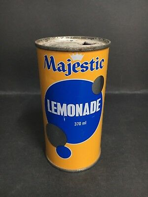 SOFT DRINK STEEL CAN MAJESTIC LEMONADE MADE IN ADELAIDE FROM 1970's