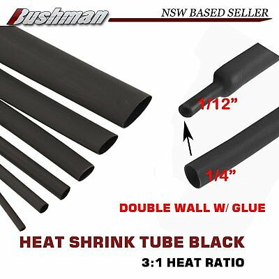 """Per Meter 3:1 Heat Shrink Tubing Tube 1/4"""" Wire Sleeving Cable Insulation Black"""