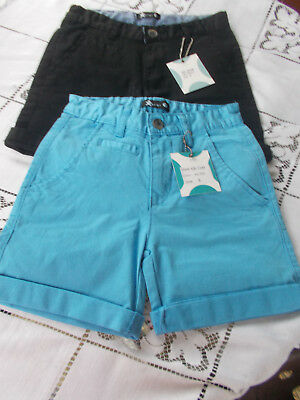 2 KID UNISEX ARQI COTTON SHORTS BLUE & BLACK MOVE ON THE LIFE sz 5-6 IDEAL TWINS