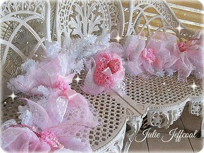 STUNNING ~ 183cm ~ SHABBY ~ PINK ~ ROSES ~ CARNATIONS ~ TULLE ~ MANTLE ~ GARLAND