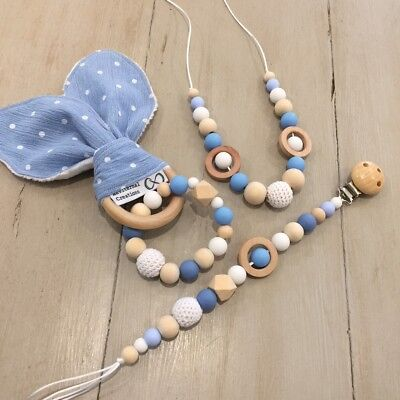 3 Piece Set - Nursing Teething Necklace, Crinkle Bunny Ears & Pacifier/Toy Clip