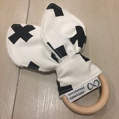Wood And Cotton Crinkle Sound Bunny Ears Teething Ring, Black & White Cross