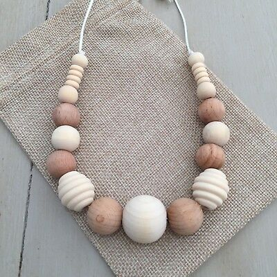 All Natural Beech, Maple & Ash Wood Nursing Teething Necklace, 80cm Hand Made