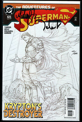 SUPERMAN #625 Sketch Cover signed Michael Turner + Talent Caldwell + DF COA NM+