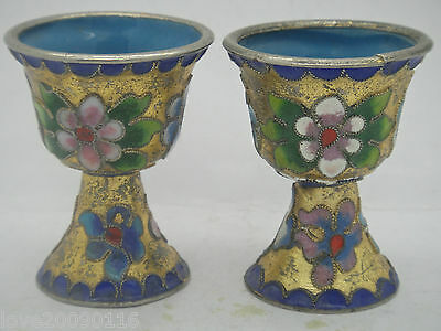 China Handwork Collectible Cloisonne Carve Flowers Rattan Noble Pair Wine Cup