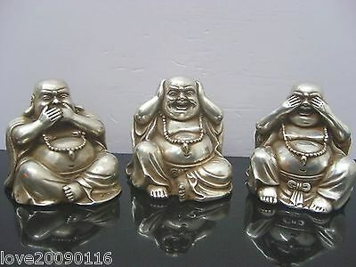 Collectible 3 Of Old Tibet Silver Carve Buddha Statue No See No Speak No Listen