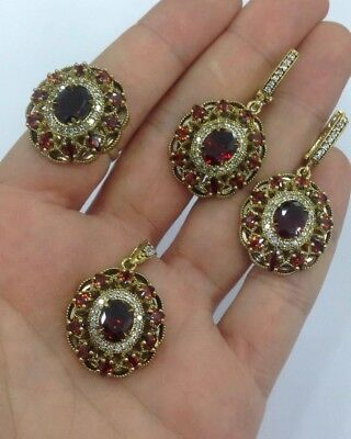 Handmade Sterling 925 Silver Jewelry Madagascar Ruby Stone Ladies Full Set..