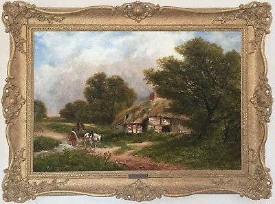 Horse and Cart near Swaythling Antique Oil Painting by Carl Brennir (1850-1920)
