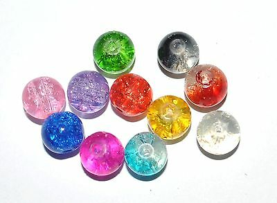 100 COLOURED GLASS ROUND CRACKLE CRAFT BEADS - 8mm - VARIOUS COLOURS AVAILABLE