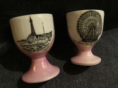 Pair of Blackpool themed Antique Egg Cuos