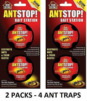 2 Packs Home Defence Ant Stop Bait Station Pre-Baited Kills Ants & Nests 4 TRAPS