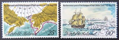 1978 Norfolk Island Stamps - Northernmost Point of Capt Cook's Voyages-Set 2 MNH