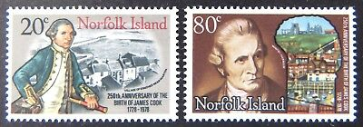 1978 Norfolk Island Stamps - 250th Anniversary Birth of Capt Cook - Set 2 MNH