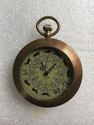 Collect Vintage Bronze Mechanical Zodiac Pocket Watch, work well