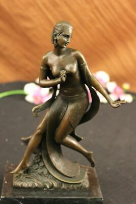Signed Bronze Nude Statue Art Deco Dancer Faguays Sculpture On Marble Base Decor