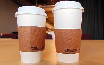 SafePro 16 oz Paper Hot WHITE Cups with Lids and Cup Sleeves, (100)