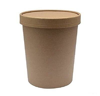 SafePro 32 Oz. Kraft Paper Soup Cups With Vented Paper Lid, (50)