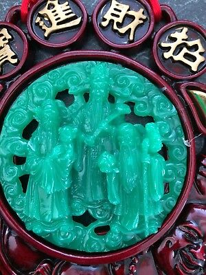 Chinese Immortal 3 Gods  Fu, Lu and Shou. FAUX JADE WALL HANGING BUDDHA