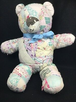 Primitive 19 Inch Feedsack Patchwork Cutter Quilt Hand Made Teddy Bear