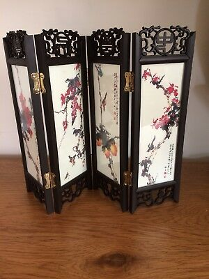 Chinese Table Top Screen 4  Panels Double Sided Gift Boxed