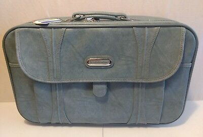 Vintage 1986 American Tourister Soft Small Luggage Suitcase Blue Lock & Keys