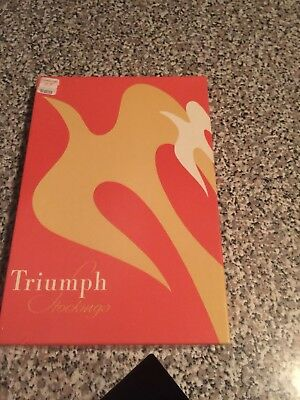 """Vintage Triumph Stockings 3 pair in box, seamless, """"misty taupe"""", 10.5 LONG"""
