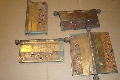 "4 Large Antique Old Ball Top 5"" Heavy Solid Brass Corbin  Hinges"
