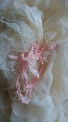 EXQUISITE LENGTH ANTIQUE FRENCH FAIRYTALE SHEER PURE SILK ORGANZA c1880 OYSTER