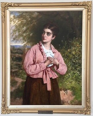 Young Beauty Antique Genre Oil Painting by William Oliver (British, 1823-1901)