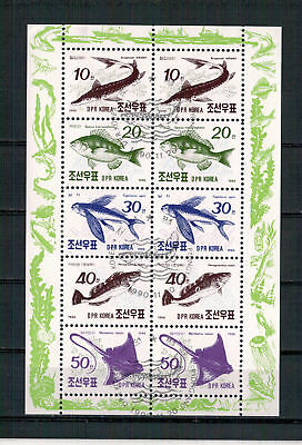 Korea, Fische | Fish | Poissons MiNr. 3154 - 3158 Kleinbogen, 1990 used