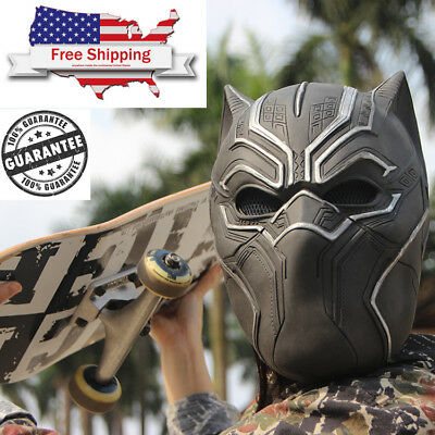 New 2018 Solid 3D Black Panther Masks Movie Cosplay Men's Latex marvel costume
