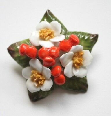 1950s Floral Vintage Porcelain Brooch Pin  - Costume Jewelry
