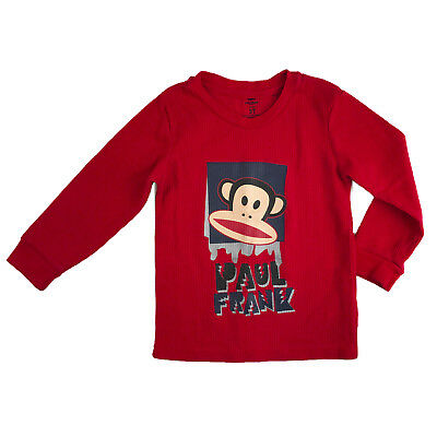 Boys Paul Frank Thermal Long Sleeve Shirt Size 3T Red Monkey
