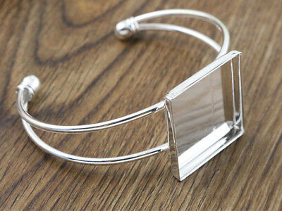Silver Plated Bangle Blank | 25mm Square Setting | 1pcs