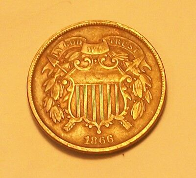 """***1866  Two Cent Piece  Partial """"we"""" Scarce Old Coin"""