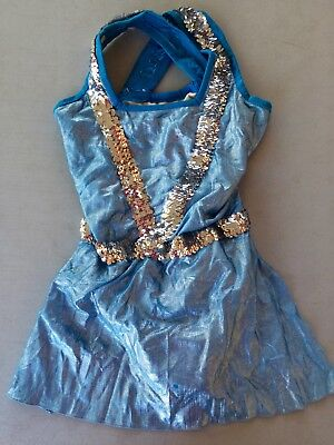 Blue with Silver Metallic Sequins Drill Team Dance Dress, Size Adult Medium
