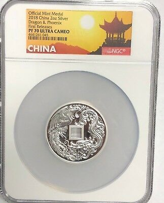 2018 China 2 Oz. Silver Dragon & Phoenix First Release Pf70 Ultra Cameo - Ngc