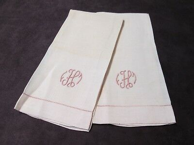 Pair Pink Linen Hand Towels H Monograms Hemstitched