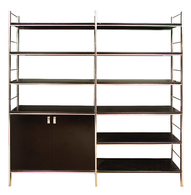 Italian Designer Dal Vera Vintage Bookshelves and Cupboard c1973 Chrome and Wood