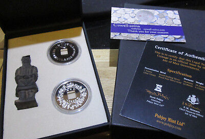 Isle of Man Silver Proof Terracotta Army 2 Crown Coins + Miniature 2009 figure