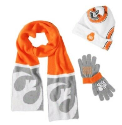 BB-8 STAR WARS Boys Knit Winter Beanie Hat, Gloves & Scarf Set (Ages 4-12) NWT